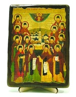 Оптинские старцы, икона под старину, на дереве (13х17)
