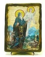 Давид Гареджийский, икона под старину, на дереве (13х17)