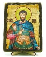 Иоанн воин, икона под старину, на дереве (13х17)