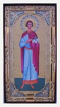 Владислав Сербский (рост), с багетом. Большая Храмовая икона (58 х 110)