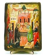Сретение Господне, икона под старину, на дереве (13х17)