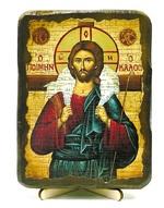 Добрый пастырь, икона под старину, на дереве (13х17)
