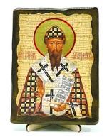 Кирилл Александрийский, икона под старину, на дереве (13х17)