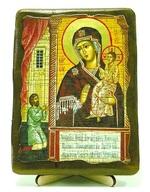 Нечаянная радость Б.М., икона под старину, на дереве (13х17)