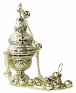 Кадило латунное, с эмалевыми вставками, с позвонцами