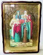 Жены - Мироносицы, в фигурном киоте, с багетом. Храмовая икона 80 Х 110 см.