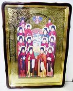 Собор Оптинских старцев, в фигурном киоте, с багетом. Храмовая икона 80 Х 110 см.