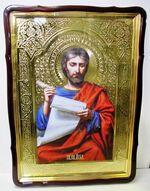 Евангелист Лука, в фигурном киоте, с багетом. Храмовая икона 80 Х 110 см.