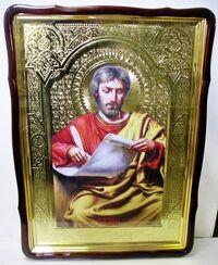 Евангелист Марк, в фигурном киоте, с багетом. Храмовая икона 80 Х 110 см.
