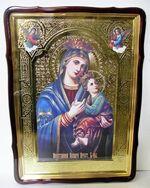 Неустанная помощь Б.М., в фигурном киоте, с багетом. Храмовая икона 80 Х 110 см.