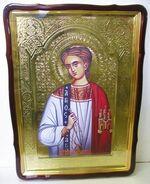 Роман Сладкопевец, в фигурном киоте, с багетом. Храмовая икона 80 Х 110 см.