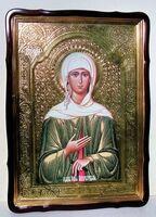 Ксения Петербургская, в фигурном киоте, с багетом. Храмовая икона 80 Х 110 см.
