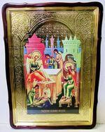 Рождество Иоанна Предтечи, в фигурном киоте, с багетом. Храмовая икона 80 Х 110 см.