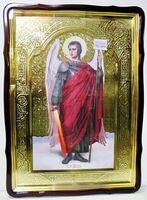 Арх. Михаил, в фигурном киоте, с багетом. Храмовая икона 80 Х 110 см.