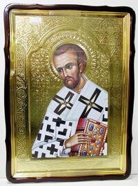 Иоанн Златоуст, в фигурном киоте, с багетом. Храмовая икона 80 Х 110 см.