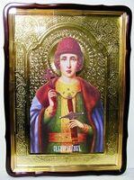 Глеб, Св.кн., в фигурном киоте, с багетом. Храмовая икона 80 Х 110 см.