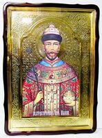 Царь Николай, в фигурном киоте, с багетом. Храмовая икона 80 Х 110 см.