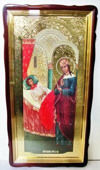 Целительница Б.М., в фигурном киоте, с багетом. Храмовая икона 60 Х 114 см.