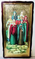 Жены - Мироносицы, в фигурном киоте, с багетом. Храмовая икона 60 Х 114 см.