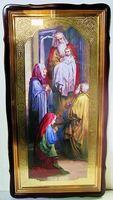 Сретение Господне, в фигурном киоте, с багетом. Храмовая икона 60 Х 114 см.