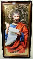 Евангелист Лука, в фигурном киоте, с багетом. Храмовая икона 60 Х 114 см.