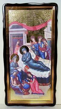 Рождество Иоанна Предтечи, в фигурном киоте, с багетом. Храмовая икона 60 Х 114 см.