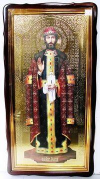 Олег Брянский, в фигурном киоте, с багетом. Храмовая икона 60 Х 114 см.