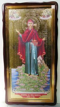 Афонская Б.М. (Игуменья святой горы), в фигурном киоте, с багетом. Храмовая икона 60 Х 114 см.