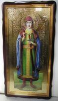 Глеб, Св.кн., в фигурном киоте, с багетом. Храмовая икона 60 Х 114 см.
