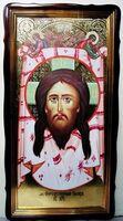 Спас Нерукотворный, в фигурном киоте, с багетом. Храмовая икона 60 Х 114 см.