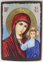 Казанская Б.М. (голубой фон), икона под старину JERUSALEM панорамная, с клиньями (13 Х 17)