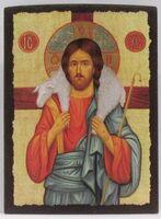Добрый пастырь, икона под старину JERUSALEM панорамная, с клиньями (13 Х 17)