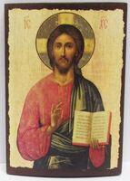 Спаситель (пояс), икона под старину JERUSALEM панорамная, с клиньями (13 Х 17)