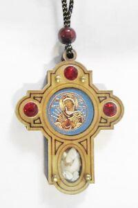 Подвеска автомобильная (100) крест, березовый щит, имитация камней, ладан, орг.стекло, Семистрельная Б.М.