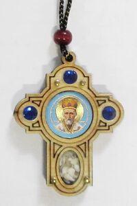 Подвеска автомобильная (101) крест, березовый щит, имитация камней, ладан, орг.стекло, Николай Чудотворец