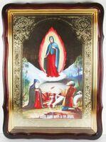 Почаевская Б.М., Явление, в фигурном киоте, с багетом. Большая Храмовая икона 80 Х 110 см.