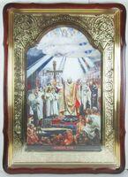 Крещение Руси князем Владимиром, в фигурном киоте, с багетом. Большая Храмовая икона 80 Х 110 см.