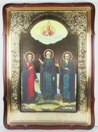 Зосима, Совватий, Герман,в фигурном киоте, с багетом. Большая Храмовая икона 80 Х 110 см.