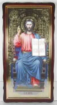 Спаситель на троне, в фигурном киоте, с багетом. Большая Храмовая икона 60 х 114 см.