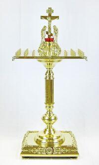 Крышка панихидного стола на 40 свечей на подставке, с квадратным основанием