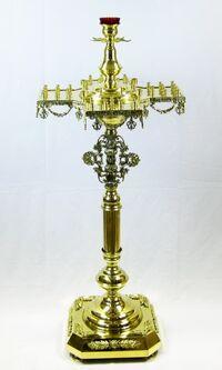 """Подсвечник на 56 свечей """"Крест"""", с высокой лампадой, с литьем"""