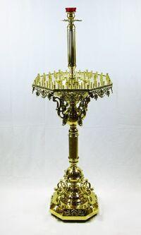 Подсвечник на 80 свечей восьмигранный, с высокой лампадой, с литьем
