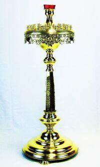 Подсвечник на 36 свечей детский, с низкой лампадой, с литьем, с граненым стволом