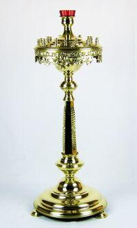 Подсвечник на 24 свечи детский, с низкой лампадой, с литьем, с граненым стволом
