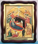 Рождество Христово (39), в фигурном киоте, с багетом. Большая аналойная икона (28 Х 32)
