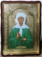 Матрона Московская (зелёное одеяние), в фигурном киоте, с багетом. Храмовая икона 80 Х 110 см.
