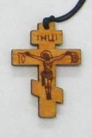 Крест нательный дерево (5), на шнурке, восьмиконечн. средний, березовый щит. Упак. 100 шт.