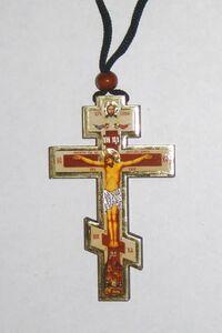 Подвеска автомобильная (13) Крест деревянный восьмиконечный большой, с бусиной.