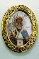 Николай Чудотворец. Икона настольная малая, овал.