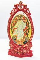 Спаситель (Пасх.праздн). Икона настольная, овал, виноград, на подст. 11 Х 6 см.
